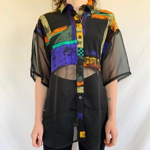 Vintage 80s Abstract Sheer Crop Button Blouse